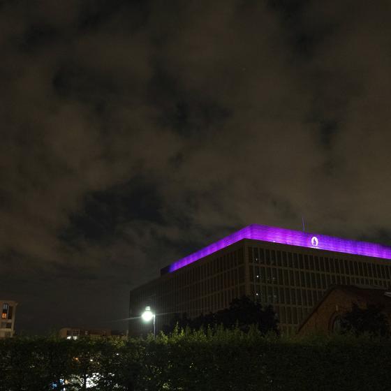 Pulse illuminé en violet pour soutenir l'action #WeThe15 - Paris2024 © Getty Images